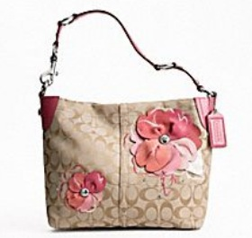 Coach Bleecker Signature Floral Applique Carly Hobo 16879